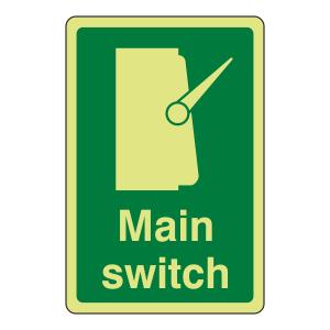 Photoluminescent Main Switch Sign (Portrait)