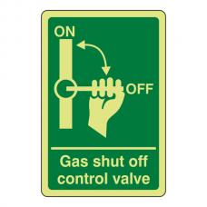 Photoluminescent Gas Shut Off Control Valve Sign (Portrait)