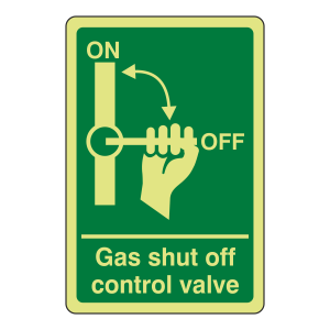 Photoluminescent Gas Shut Off Control Valve Sign (Portrait)