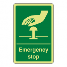 Photoluminescent Green Emergency Stop Sign (Portrait)