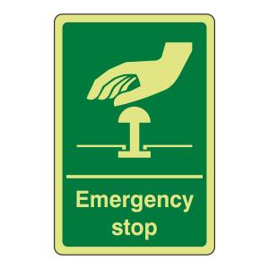Photoluminescent Green Emergency Stop Sign (Portrait)