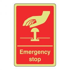 Photoluminescent Red Emergency Stop Sign (Portrait)