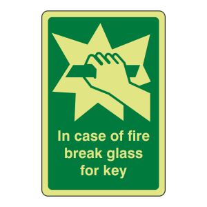Photoluminescent In Case Of Fire Break Glass For Key Sign (Portrait)