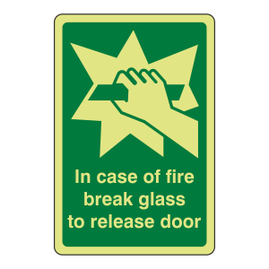 Photoluminescent In Case Of Fire Break Glass To Release Door Sign (Portrait)