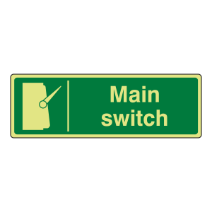 Photoluminescent Main Switch Sign (Landscape)