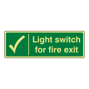 Photoluminescent Light Switch For Fire Escape Sign (Landscape)