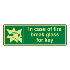 Photoluminescent In Case Of Fire Break Glass For Key Sign (Landscape)