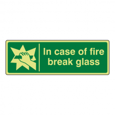 Photoluminescent In Case Of Fire Break Glass Sign (Landscape)