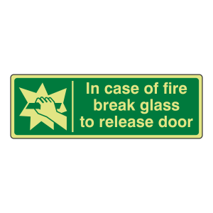 Photoluminescent In Case Of Fire Break Glass To Release Door Sign (Landscape)