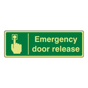 Photoluminescent Emergency Door Release Sign (Landscape)