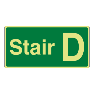 Photoluminescent Stair D Sign