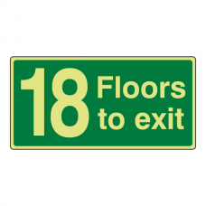 Photoluminescent 18 Floors To Exit Sign