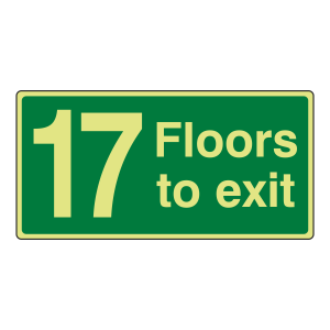 Photoluminescent 17 Floors To Exit Sign