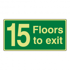 Photoluminescent 15 Floors To Exit Sign