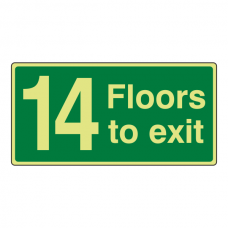 Photoluminescent 14 Floors To Exit Sign