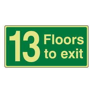 Photoluminescent 13 Floors To Exit Sign