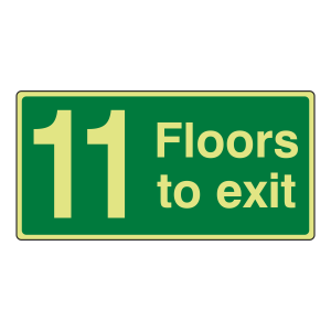 Photoluminescent 11 Floors To Exit Sign