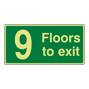 Photoluminescent 9 Floors To Exit Sign