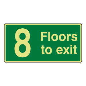 Photoluminescent 8 Floors To Exit Sign
