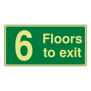 Photoluminescent 6 Floors To Exit Sign