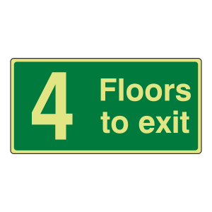 photoluminescent 4 Floors To Exit Sign