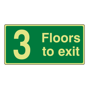 Photoluminescent 3 Floors To Exit Sign