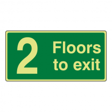 Photoluminescent 2 Floors To Exit Sign