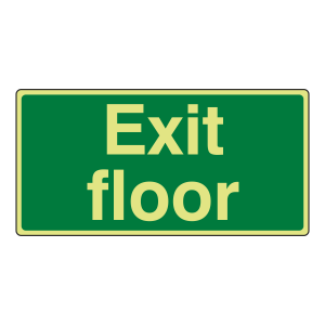 Photoluminescent Exit Floor Sign