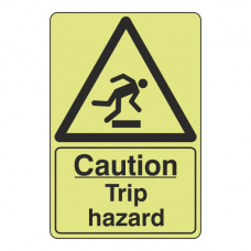 Photoluminescent Caution Trip Hazard Sign