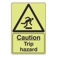 Photoluminescent Caution Trip Hazard Sign