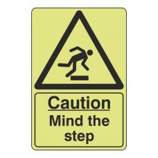 Photoluminescent Caution Mind The Step Sign