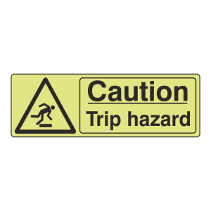 Photoluminescent Caution Trip Hazard Sign (Landscape)
