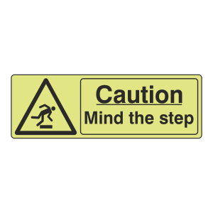 Photoluminescent Caution Mind The Step Sign (Landscape)