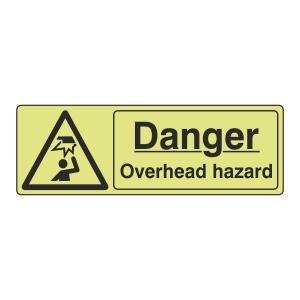 Photoluminescent Danger Overhead Hazard Sign (Landscape)
