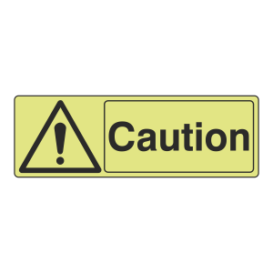 Photoluminescent Caution Sign (Landscape)