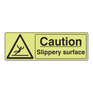 Photoluminescent Caution Slippery Surface Sign (Landscape)