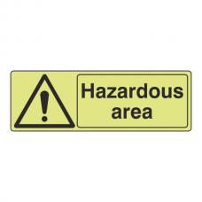 Photoluminescent Hazardous Area Sign (Landscape)