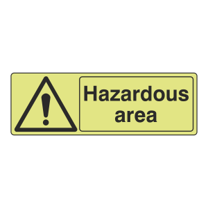 Photoluminescent Hazardous Area Sign (Landscape)