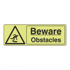 Photoluminescent Beware Obstacles Sign (Landscape)
