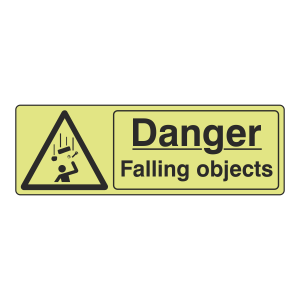 Photoluminescent Danger Falling Objects Sign (Landscape)