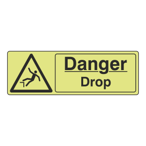 Photoluminescent Danger Drop Sign (Landscape)