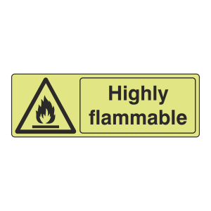 Photoluminescent Highly Flammable Sign (Landscape)