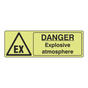 Photoluminescent Danger Explosive Atmosphere Sign (Landscape)