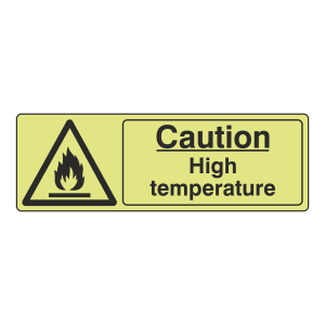 Photoluminescent Caution High Temperature Sign (Landscape)