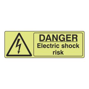 Photoluminescent Danger Electric Shock Risk Sign (Landscape)