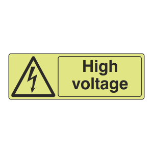 Photoluminescent High Voltage Sign (Landscape)