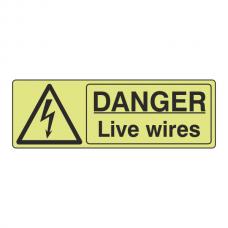 Photoluminescent Danger Live Wires Sign (Landscape)