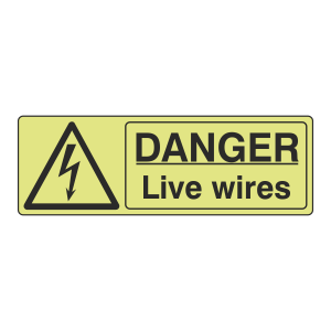 Photoluminescent Danger Live Wires Sign (Landscape)