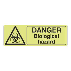 Photoluminescent Danger Biological Hazard Sign (Landscape)