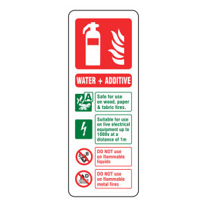 Water + Additive Extinguisher ID Sign (Portrait)